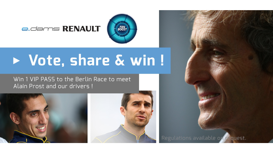 Vote, Share & Win ! And enjoy the electric vibes of the Berlin ePrix with e.dams-Renault !